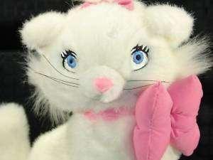 Disney Plush White Kitty Cat Marie Pink Bow Lovey NR