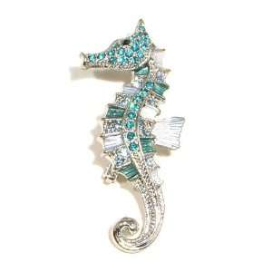 Blue Austrian Rhinestone Ocean Life Seahorse Silver Plated Brooch Pin