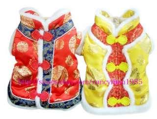 Pet Dog Cat Winter Warm Chinese Tang Dress Coat Dog Clothing Red