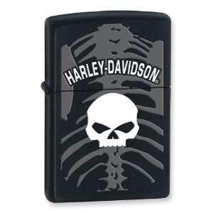 Zippo Harley Davidson Skull and Skeleton Black Matte Lighter Jewelry