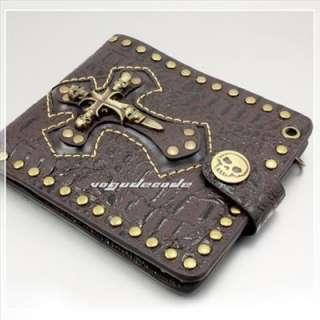Cool Rocker Cowboy Skull & Cross Men`s Leather Wallet Skull Badge