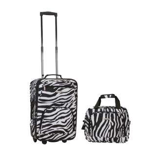 Rockland 2 Pc Upright Carry On Luggage Set   Zebra
